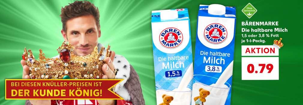 BÄRENMARKE Die haltbare Milch Vollmilch, 1,5 oder 3,8 % Fett je 1-l-Packg. für 0.79 Euro; Wimpel; Schriftzug: Der royale Wochenstart; Button: Zum royalen Wochenstart