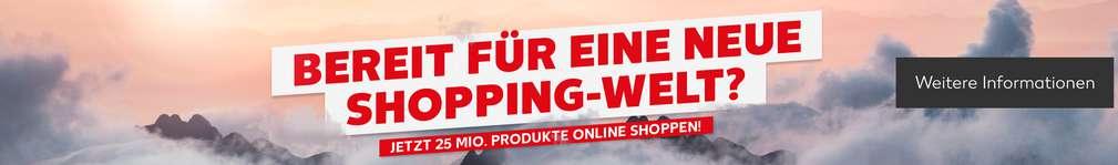 Stimmungsvolles Bild mit Berggipfeln und Wolken; Schriftzug: Bereit für eine neue Shopping-Welt? Jetzt 25 Mio. Produkte online shoppen!; Button: Weitere Informationen