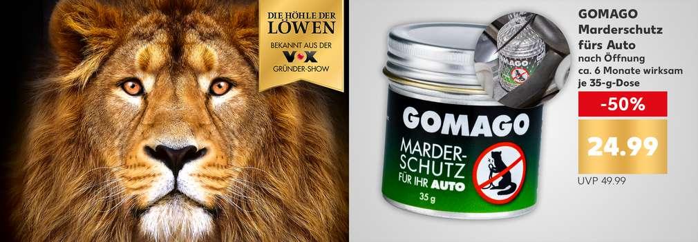 Produktabbildung: GOMAGO Marderschutz fürs Auto, nach Öffnung ca. 6 Monate wirksam, -50 %, je 35-g-Dose, 24.99 Euro, UVP 49.99 Euro; Logo: Die Höhle der Löwen; Foto eines Löwen