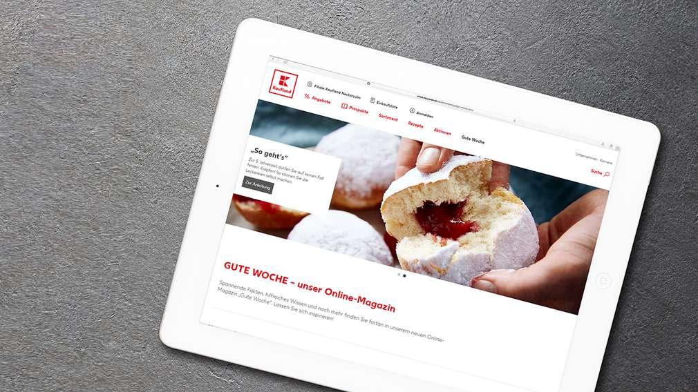 Unser Kaufland Online-Magazin, Tablet-Ansicht