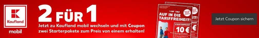 Schriftzug: 2 für 1, jetzt zu Kaufland mobil wechseln und mit Coupon 2 Starterpakete zum Preis von einem erhalten; Logo: Kaufland mobil; Abbildung: Starterpakete; Button: Jetzt Coupon sichern