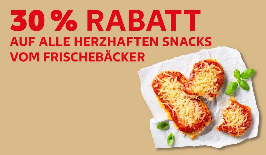 Versch. Cider; Schriftzug: 30 % Rabatt auf alle herzhaften Snacks vom Frischebäcker