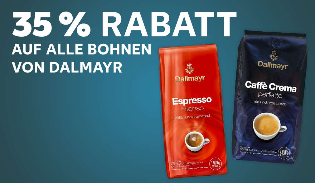 Versch. Sorten Dallmayr; Schriftzug: 35 % Rabatt auf alle Bohnen von Dallmayr