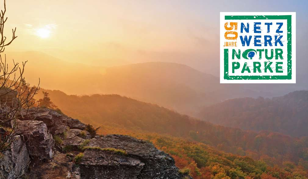 Blick über bewaldete Hügel mit Naturparke-Logo