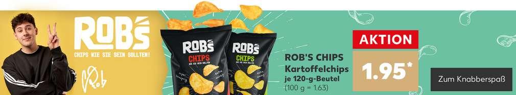Produktabbildung Rob's Chips, dahinter/daneben der Influencer Crispyrob