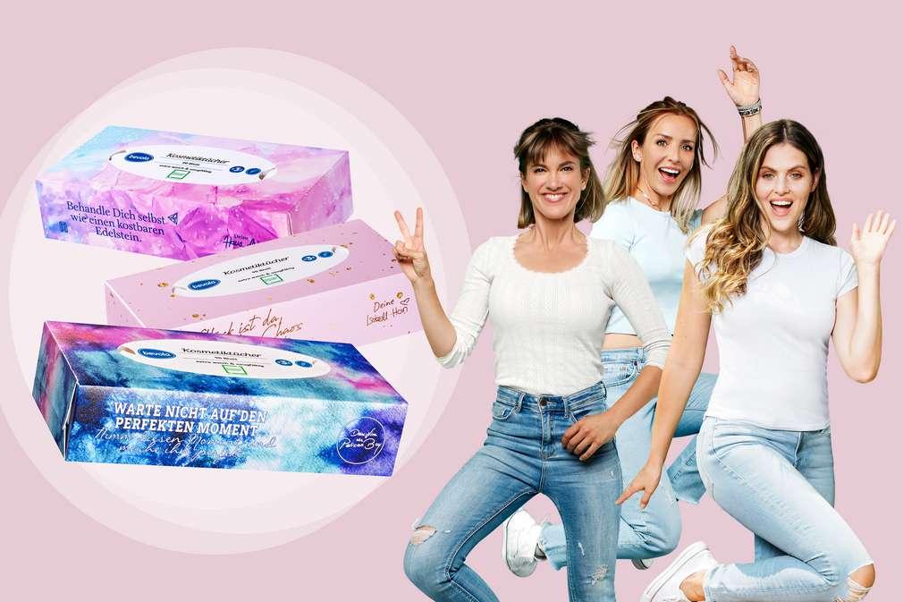 Abbildung von Influencerinnen mit selbst designten Kosmetikboxen
