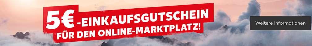 Szenerie: Berggipfel von Wolken umgeben; Schriftzug: 5 € Einkaufsgutschein für den Online-Marktplatz; Button: Weitere Informationen