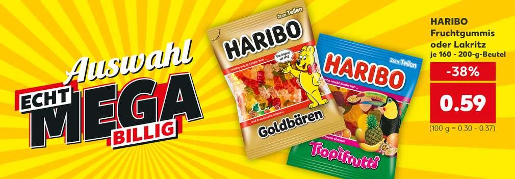 Produktabbildung: versch. Sorten Haribo Fruchtgummis oder Lakritz für nur 0.59 Euro; Schriftzug: Preise echt mega billig; Button: Zu unseren Knüllern