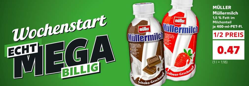 Produktabbildung: MÜLLER Müllermilch; Schriftzug: Wochenstart echt mega billig; Button: Echt mega billig zum Wochenstart