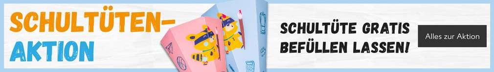 Schultütenaktion, Schultüte gratis befüllen lassen; Abbildung von zwei Schultüten