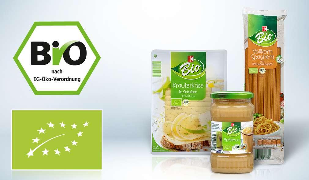 K-Bio Produkte mit Bio-Siegel und EU-Bio-Logo