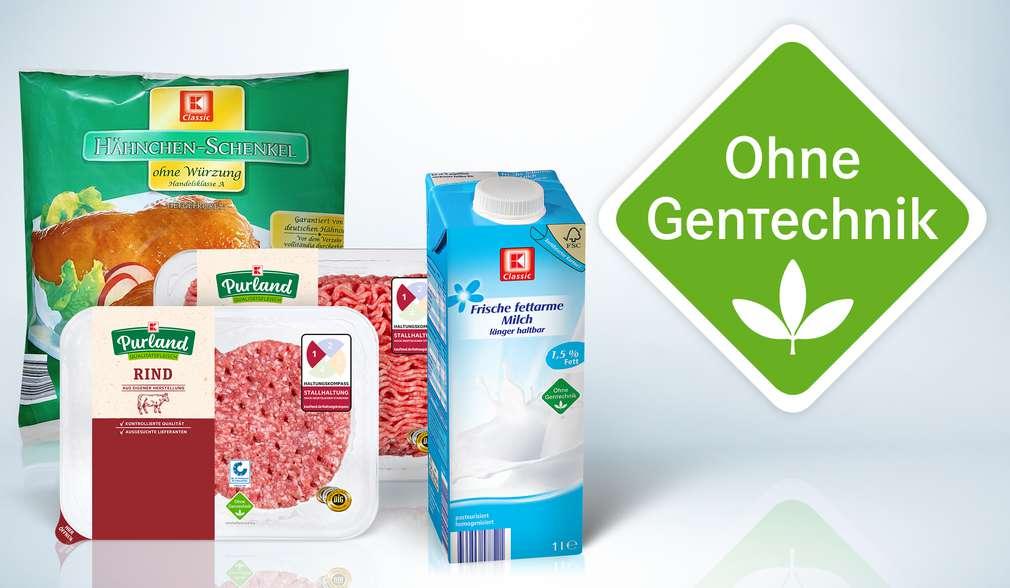 """Milch- und Fleischprodukten von K-Classic  mit dem grünen """"Ohne GenTechnik""""-Siegel"""