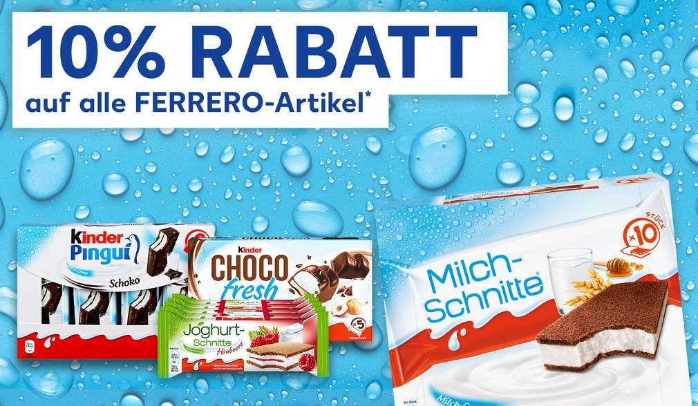 Rabattaktion: 10 Prozent auf Ferrero-Artikel