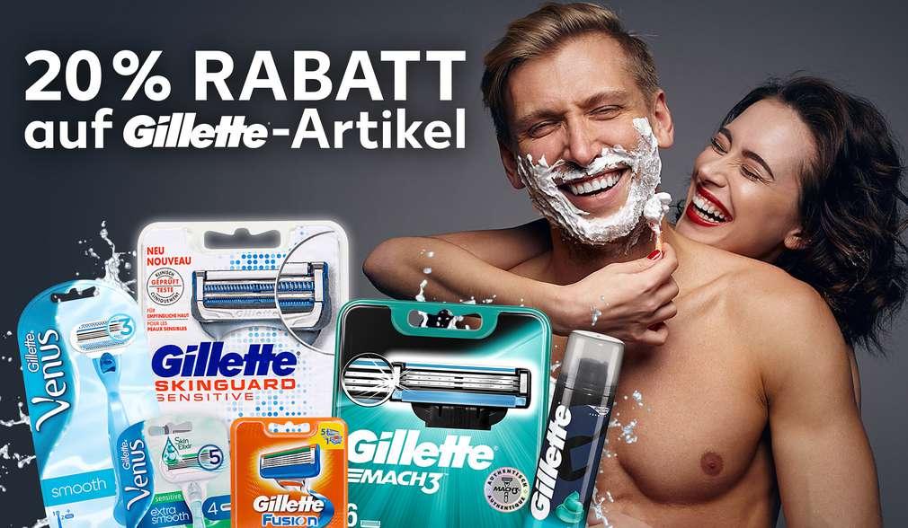 Rabattaktion: 20 Prozent auf alle Gilette-Artikel