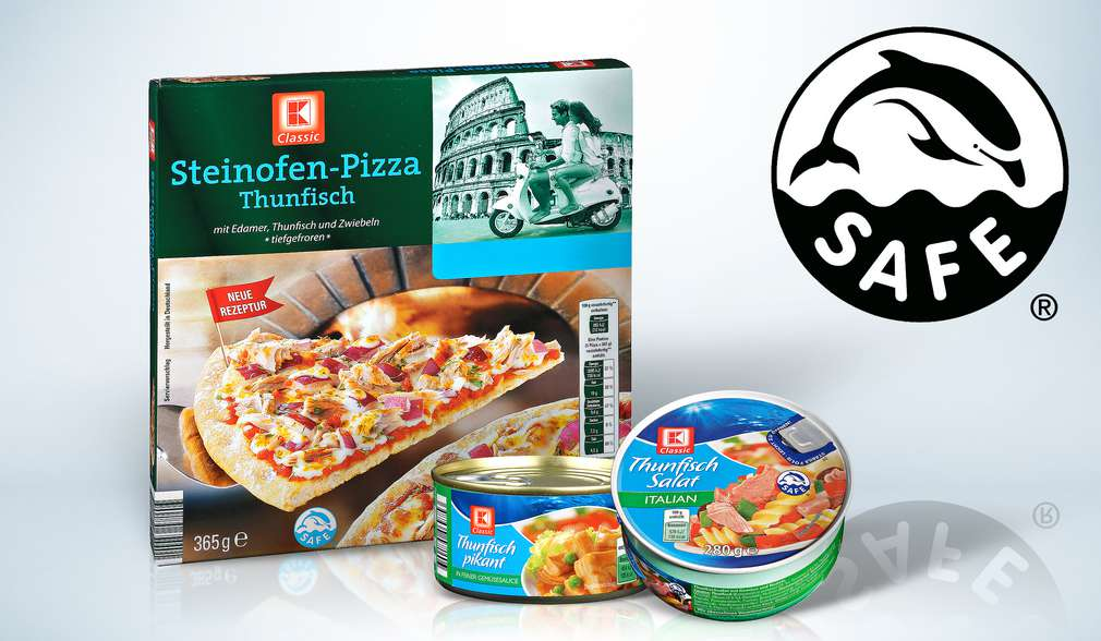 Produkte, die Thunfisch enthalten und mit dem SAFE-Logo gekennzeichnet sind