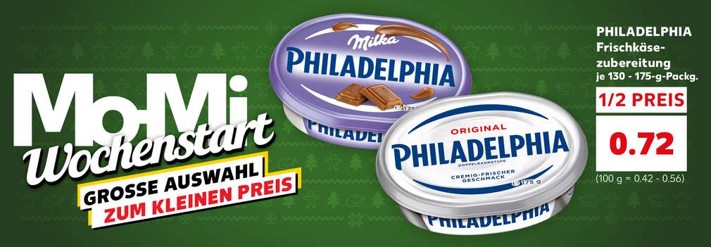Produktabbildung: Philadelphia Frischkäsezubereitung 130 - 175-g-Packung für nur 0.72 Euro; Schriftzug: Mo-Mi Wochenstart große Auswahl zum kleinen Preis; Button: Mehr Angebote zum Wochenstart