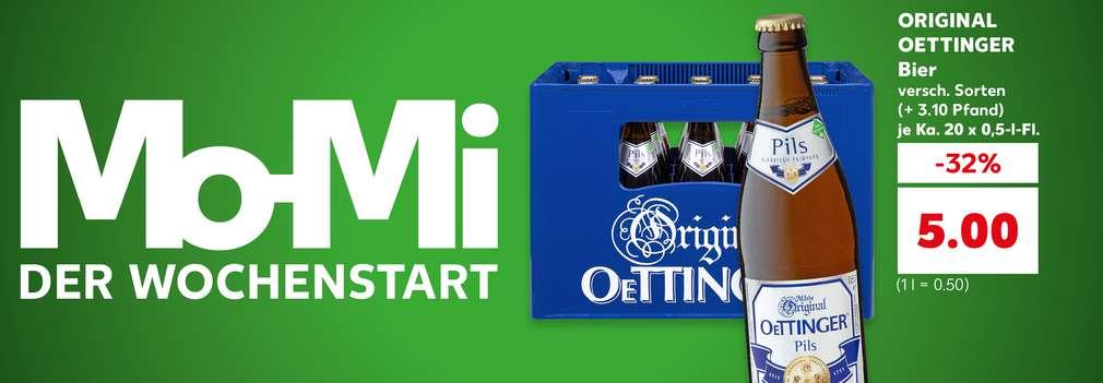 Produktabbildung: ORIGINAL OETTINGER Bier, versch. Sorten, (+ 3.10 Euro Pfand) je Ka. 20 x 0,5-l-Fl., -32 %, 5 Euro (1 l = 0.50 Euro); Schriftzug: Mo-Mi der Wochenstart