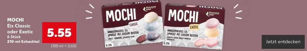 Produktabbildung: Mochi Eis Exotic oder Classic 6 Stück für 5.55 Euro; Button: Jetzt entdecken