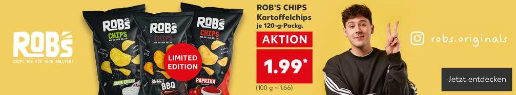 Produktabbildungen versch. Sorten ROB'S CHIPS Kartoffelchips, je 120-g-Packg., AKTION für 1.99 Euro* (100 g = 1.66 Euro); Störer: Limited Edition ROB'S CHIPS Sweet BBQ; Logo: ROB'S – Chips wie sie sein sollten!; rechts daneben: Personenabbildung: Crispyrob; Instagram: robs.originals; Button: Jetzt entdecken
