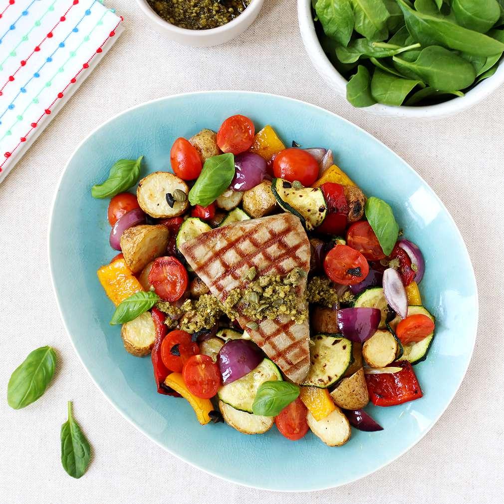 Fotografija recepta Odresci tune i povrće iz grill tave