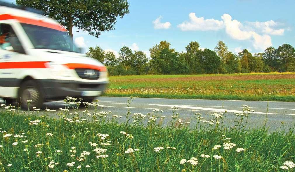 Rettungswagen vor grüner Wiese