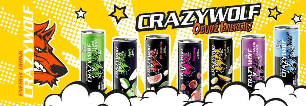 Logo Crazy Wolf ze zdjęciami różnych smaków Crazy Wolf