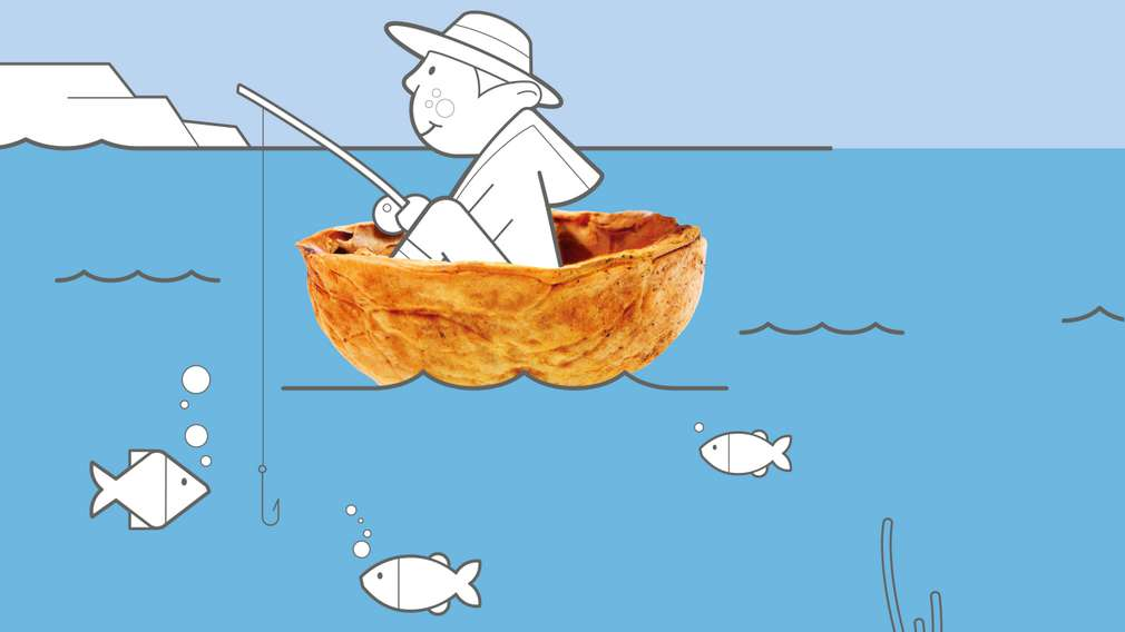Illustration: Mann sitzt in Nussschale auf Meer und fischt