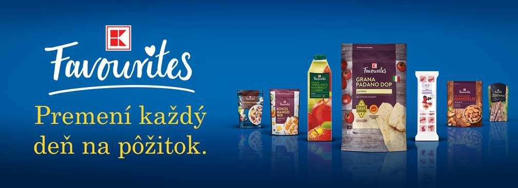 """Rozličné produkty K-Favourites a headline """"Premení každý deň na pôžitok."""""""