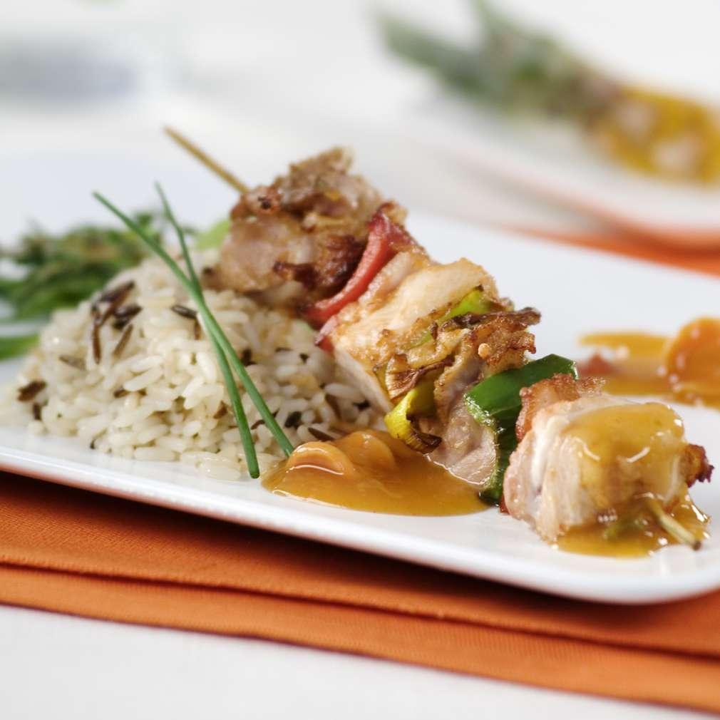 Imaginea rețetei Chebap de pui și kaiser cu orez