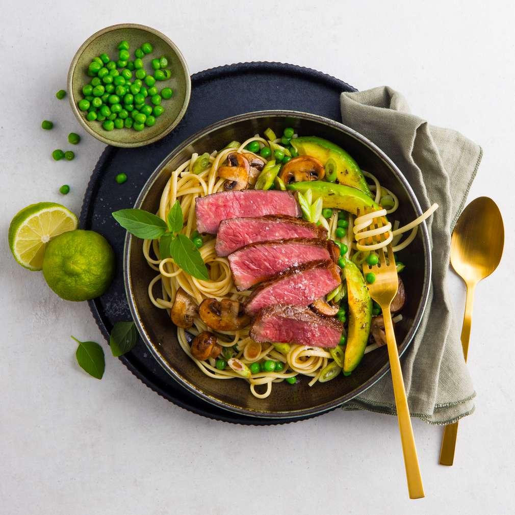 Abbildung des Rezepts Wagyu-Steak mit Linguine