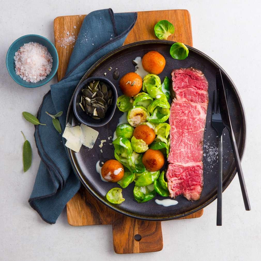 Abbildung des Rezepts Galicien-Beef mit Kürbisbällchen
