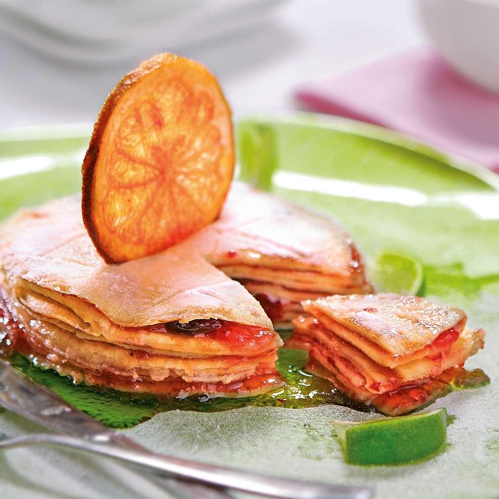 Изобразяване на рецептата Палачинкова торта с малини