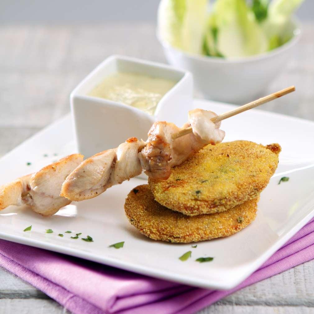 Изобразяване на рецептата Пилешки шишчета със сос от сирена