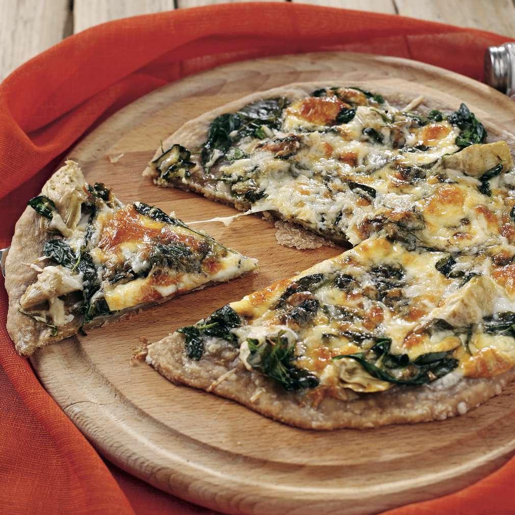 Pizza cu spanac și anghinare