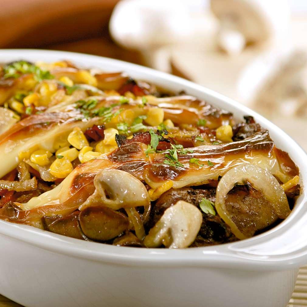 Изобразяване на рецептата Пилешки дробчета с топено сирене, гъби и бекон