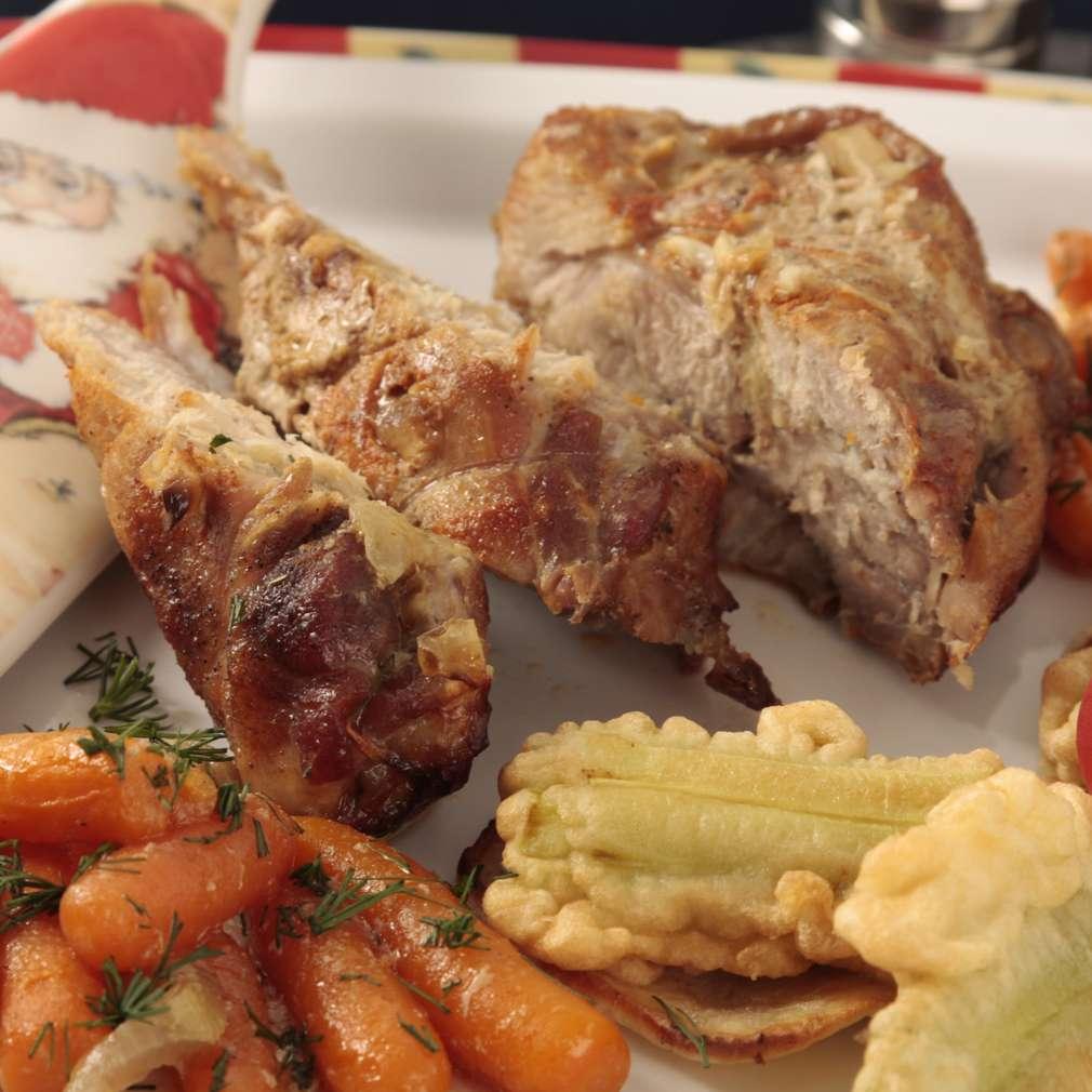Imaginea rețetei Pulpă de porc cu praz pane