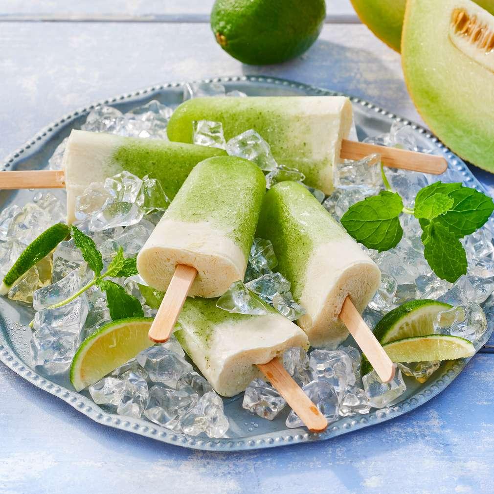 Abbildung des Rezepts Joghurt-Melonen-Eis am Stiel