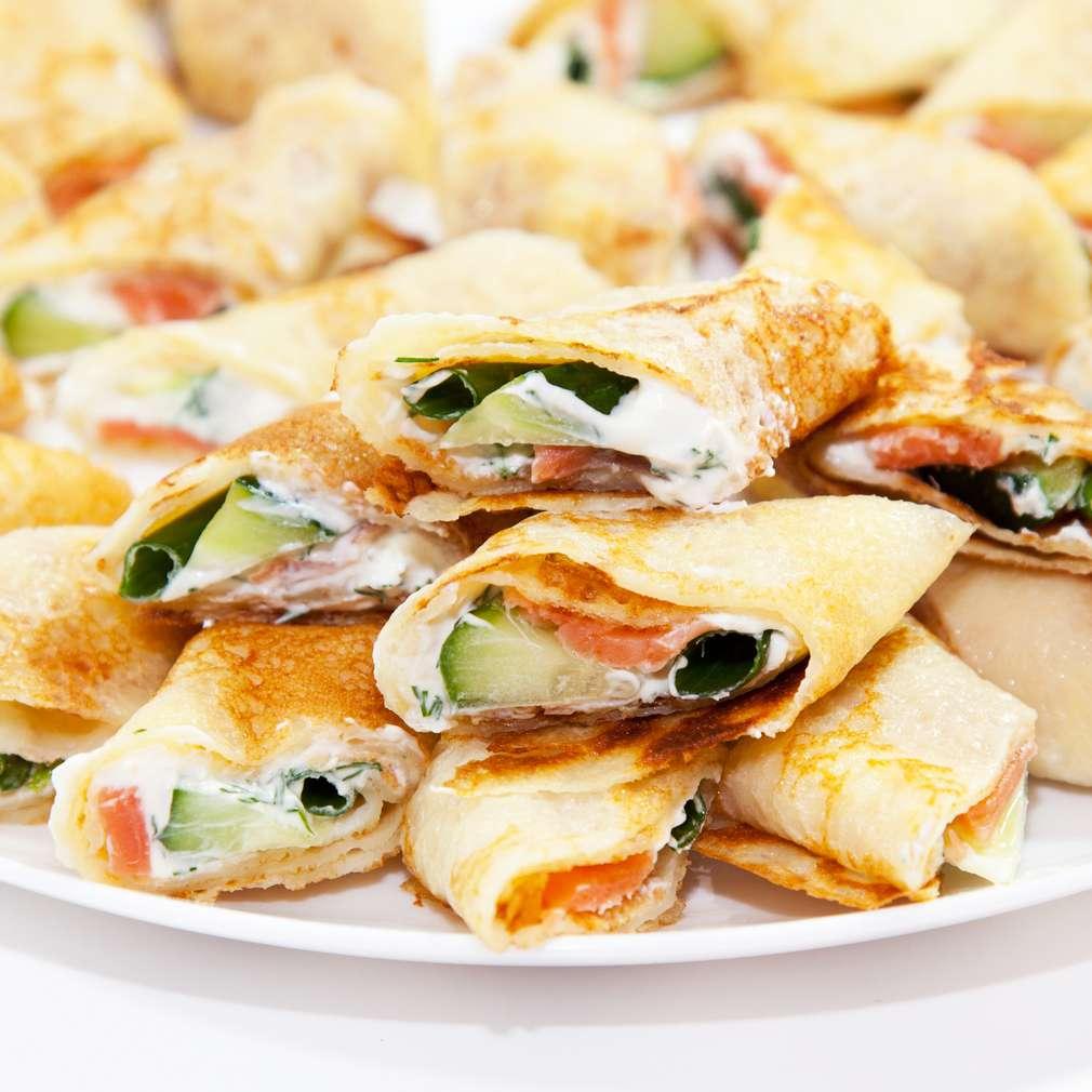 Clătite cu somon și brânză