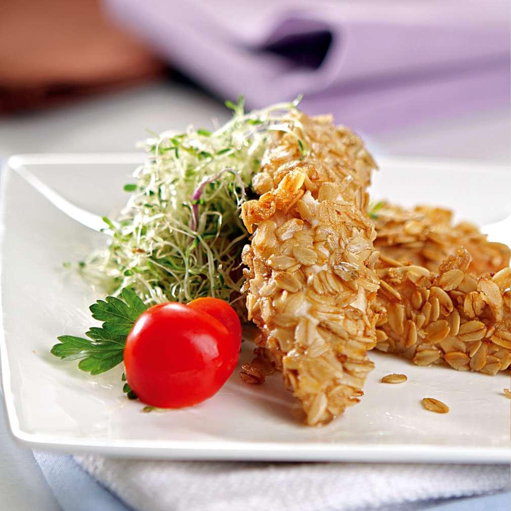 Изобразяване на рецептата Пилешки филенца, панирани с овесени ядки