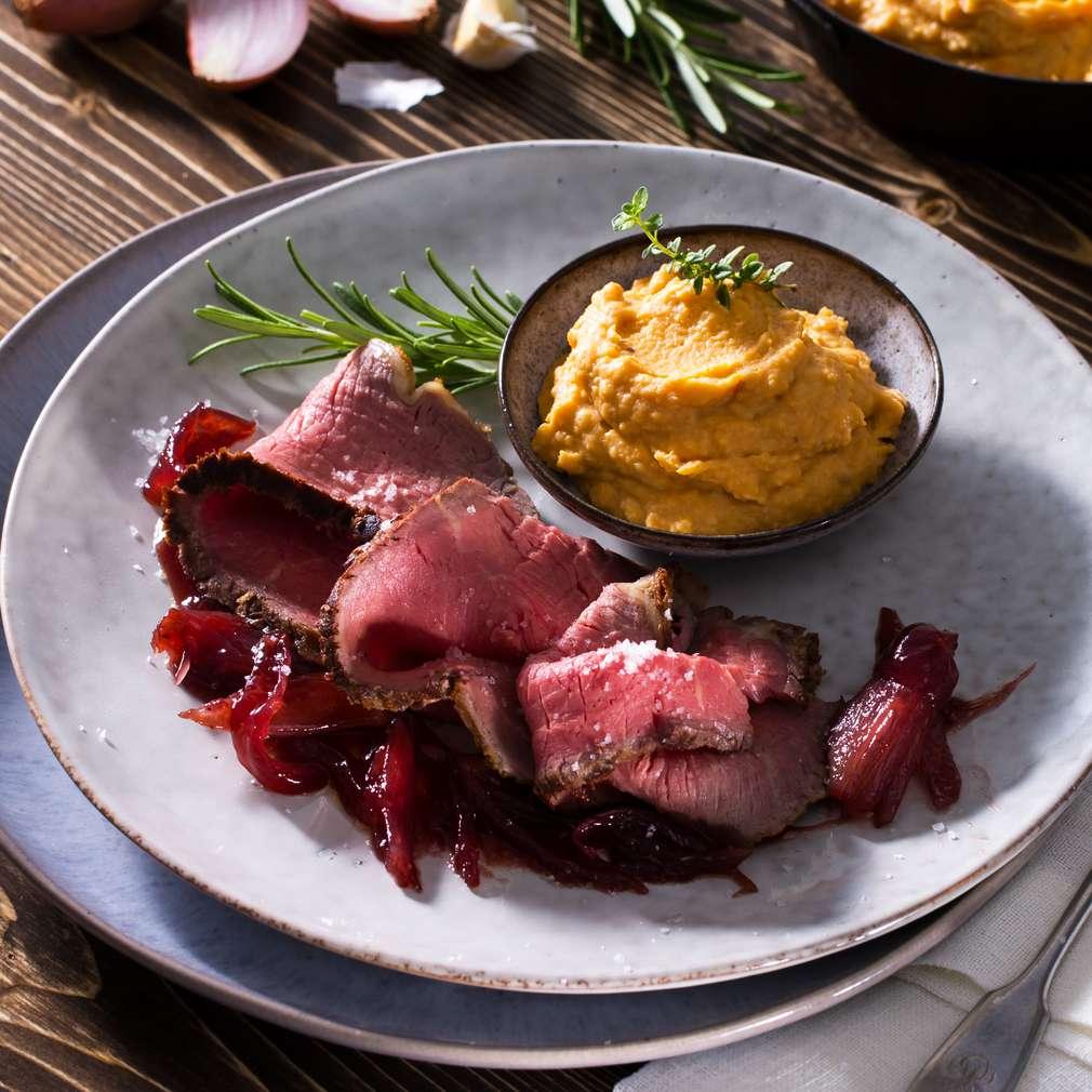 Abbildung des Rezepts Roastbeef mit Portweinschalotten