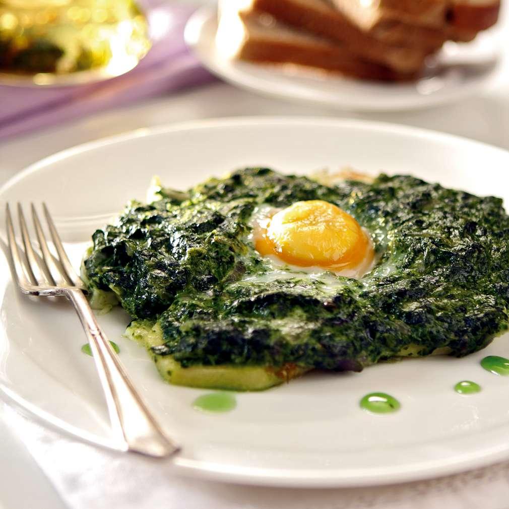 Изобразяване на рецептата Яйце в гнездо от спанак