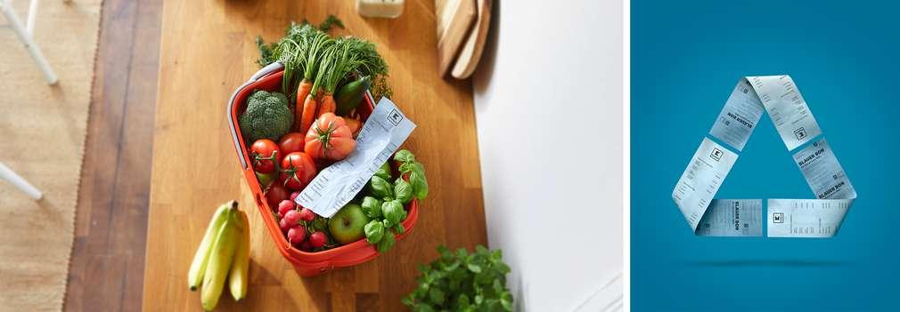 Modrý blok v košíku so zeleninou