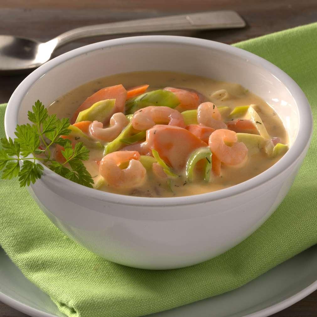 Abbildung des Rezepts Cremesuppe mit Shrimps und Gemüse