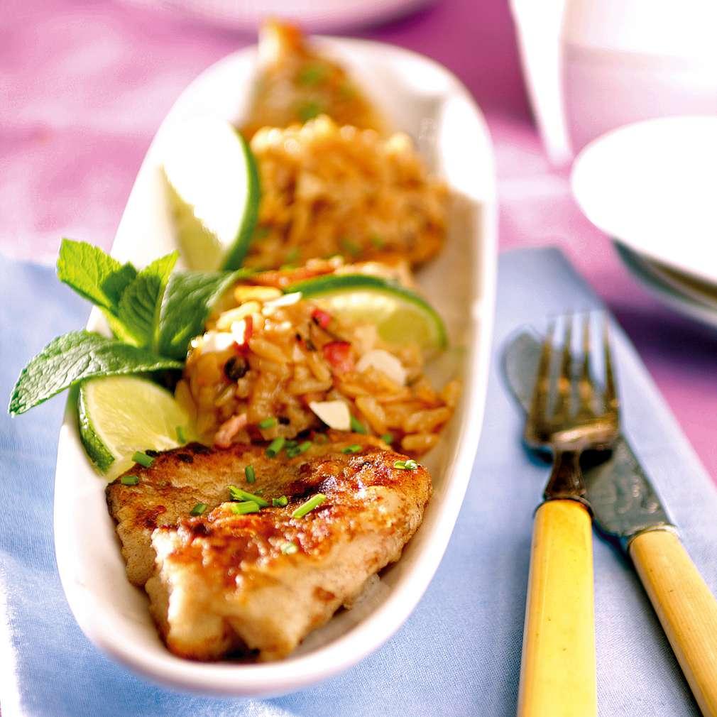 Изобразяване на рецептата Риба с ризото и вариация от сушени плодове и ядки