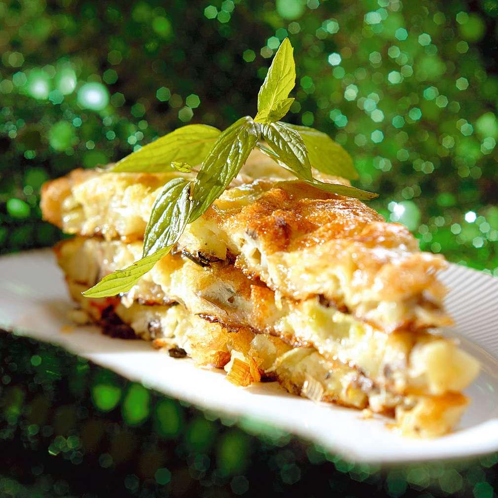 Изобразяване на рецептата Тортиля с праз и печурки