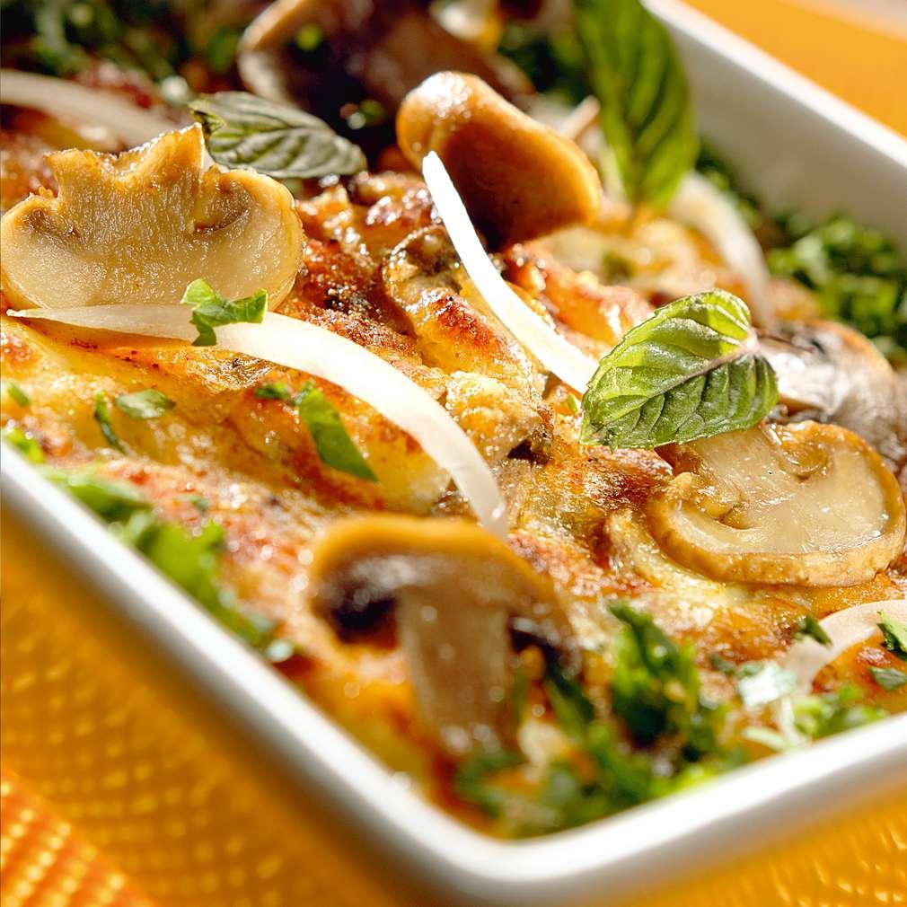 Изобразяване на рецептата Печурки с кашкавал и сметана