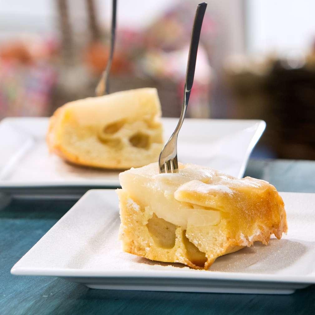 Изобразяване на рецептата Обърнат кейк с круши