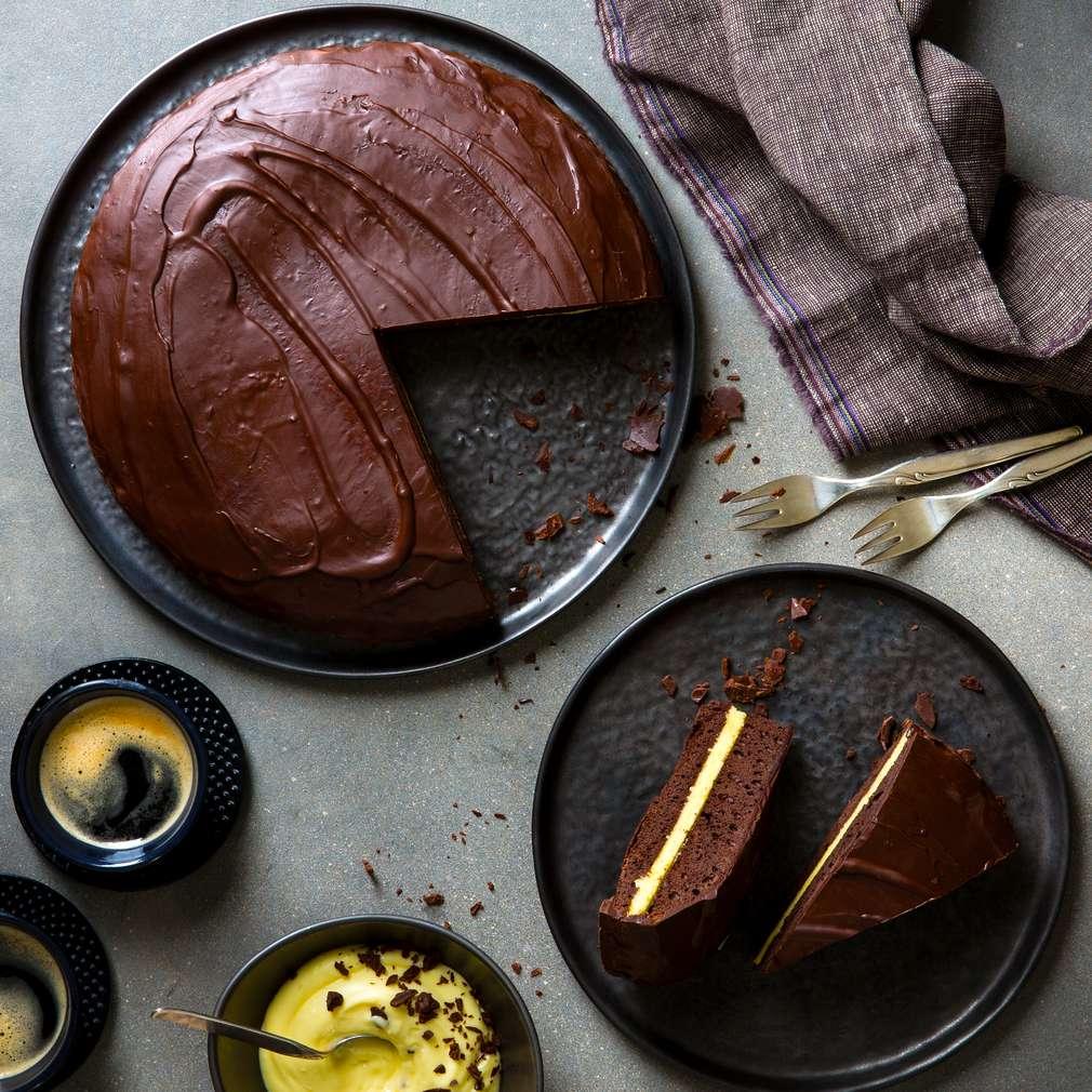 Abbildung des Rezepts Schokoladenkuchen mit Vanillecreme