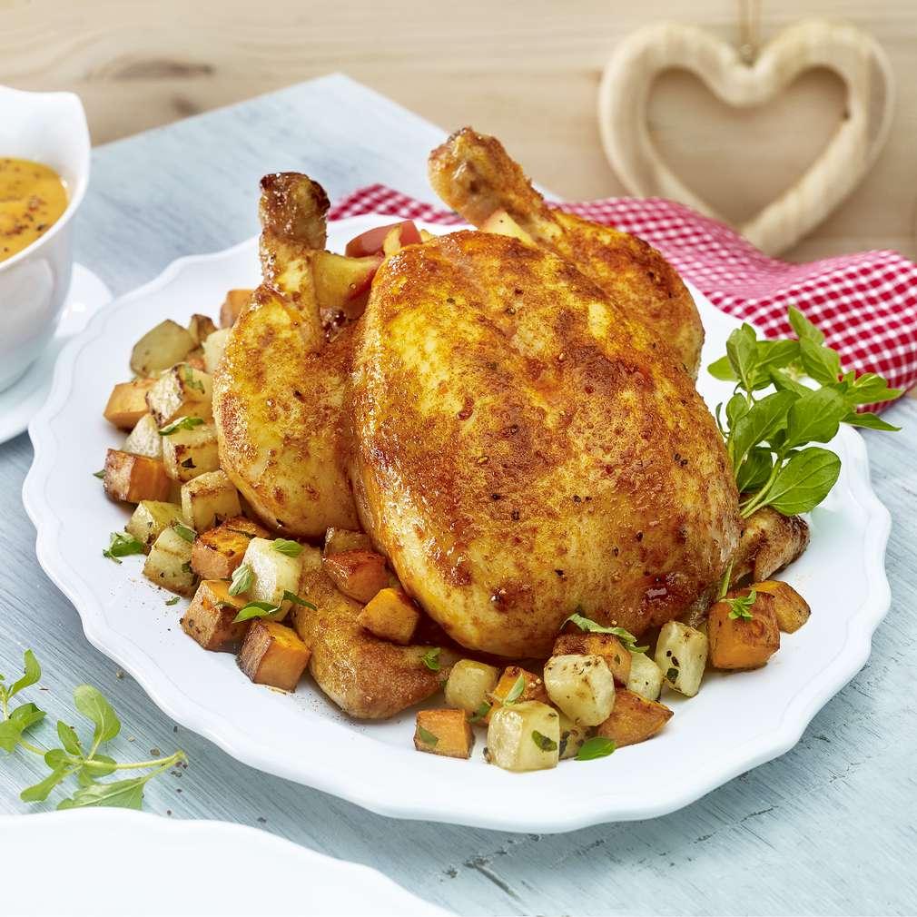 Изобразяване на рецептата Печено пиле с алабаш и сладък картоф
