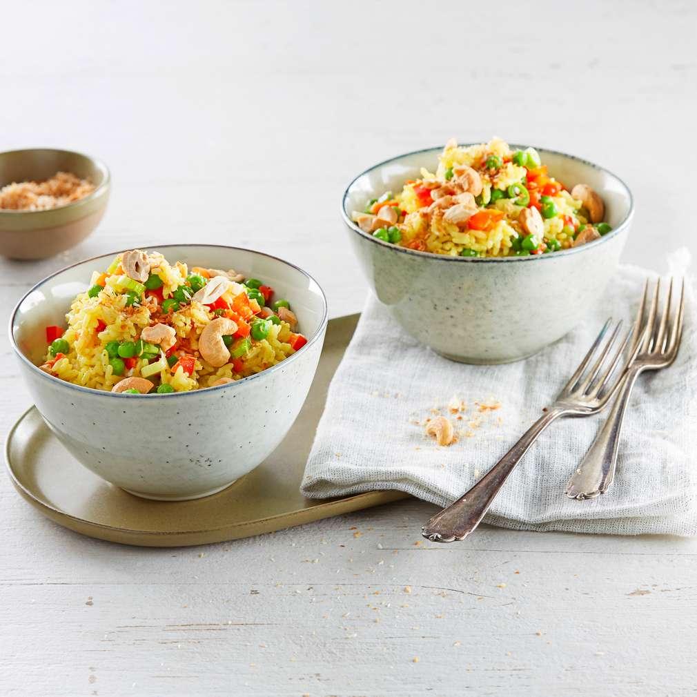 Abbildung des Rezepts Curry-Gemüsereis mit Cashewnüssen und Kokos